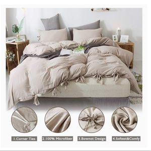 3 Pieces Butterfly Bow tie Bowknot Duvet Cover Set